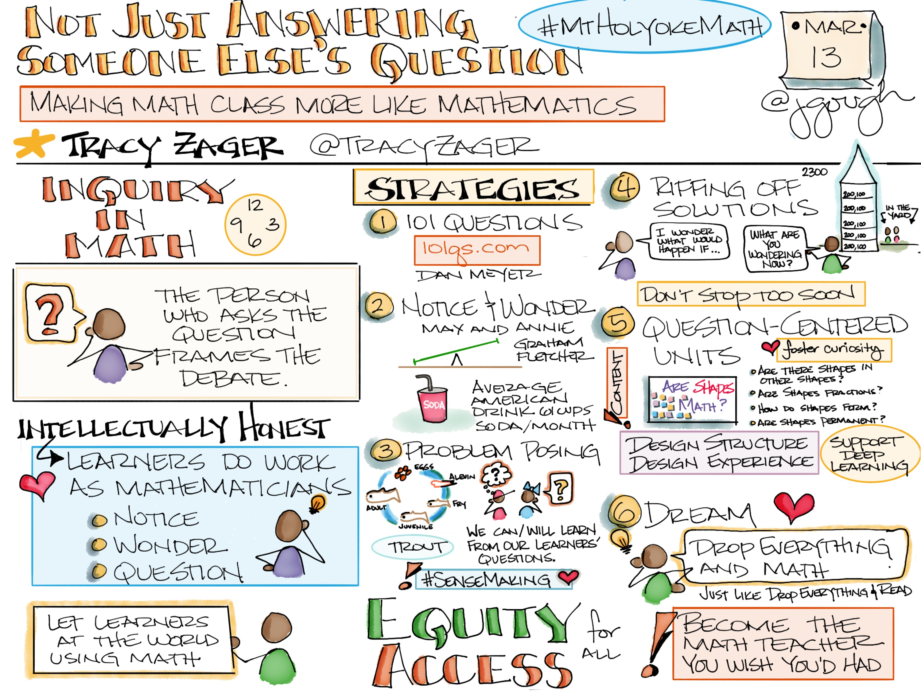 Not Just Answering Someone Else's Question: Making Math Class More Like Mathematics with @TracyZager DREAM: Drop Everything and Math #MtHolyokeMath