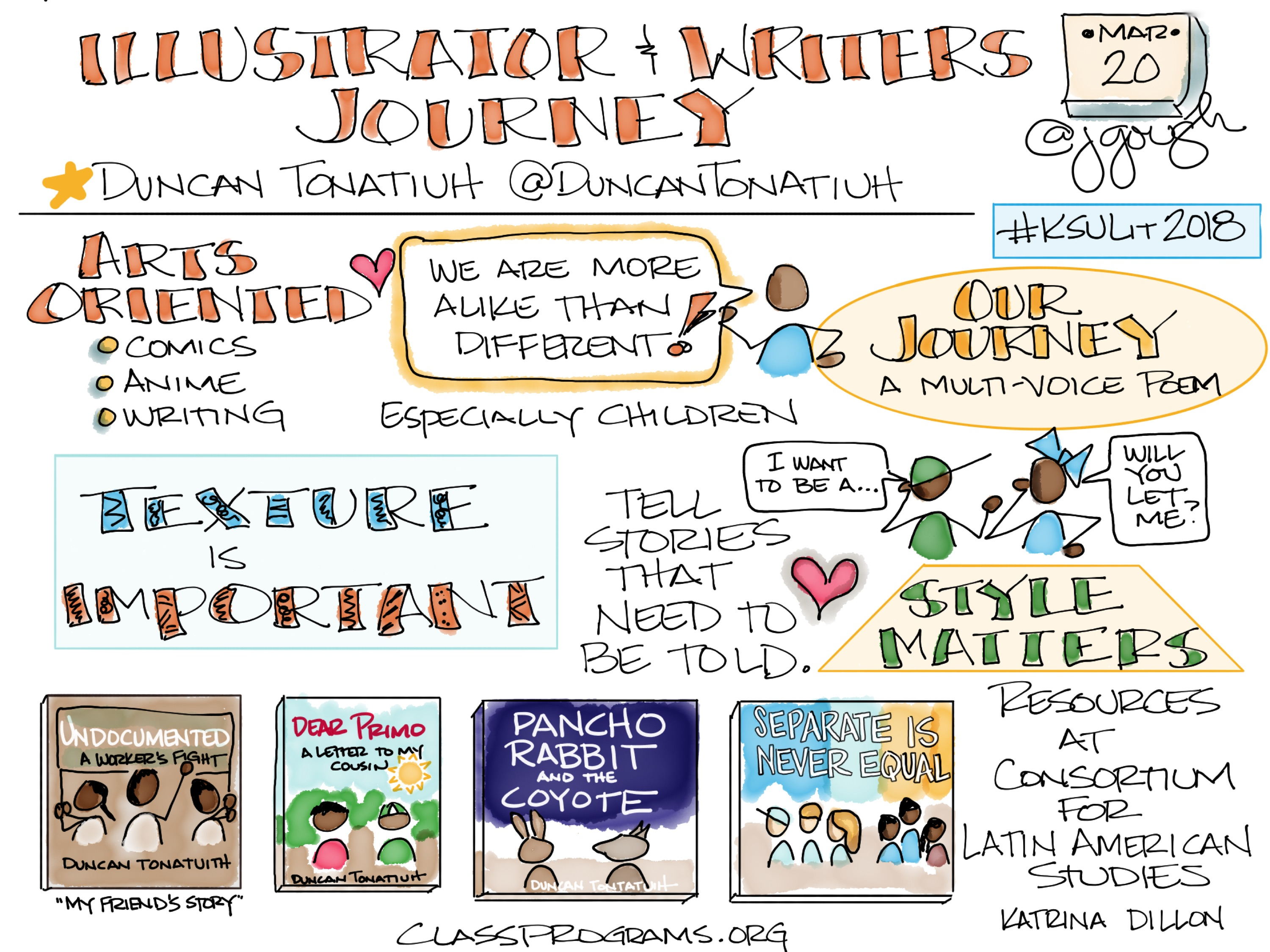 An Illustrator and Writer's Journey from @DuncanTonatiuh #KSULit2018