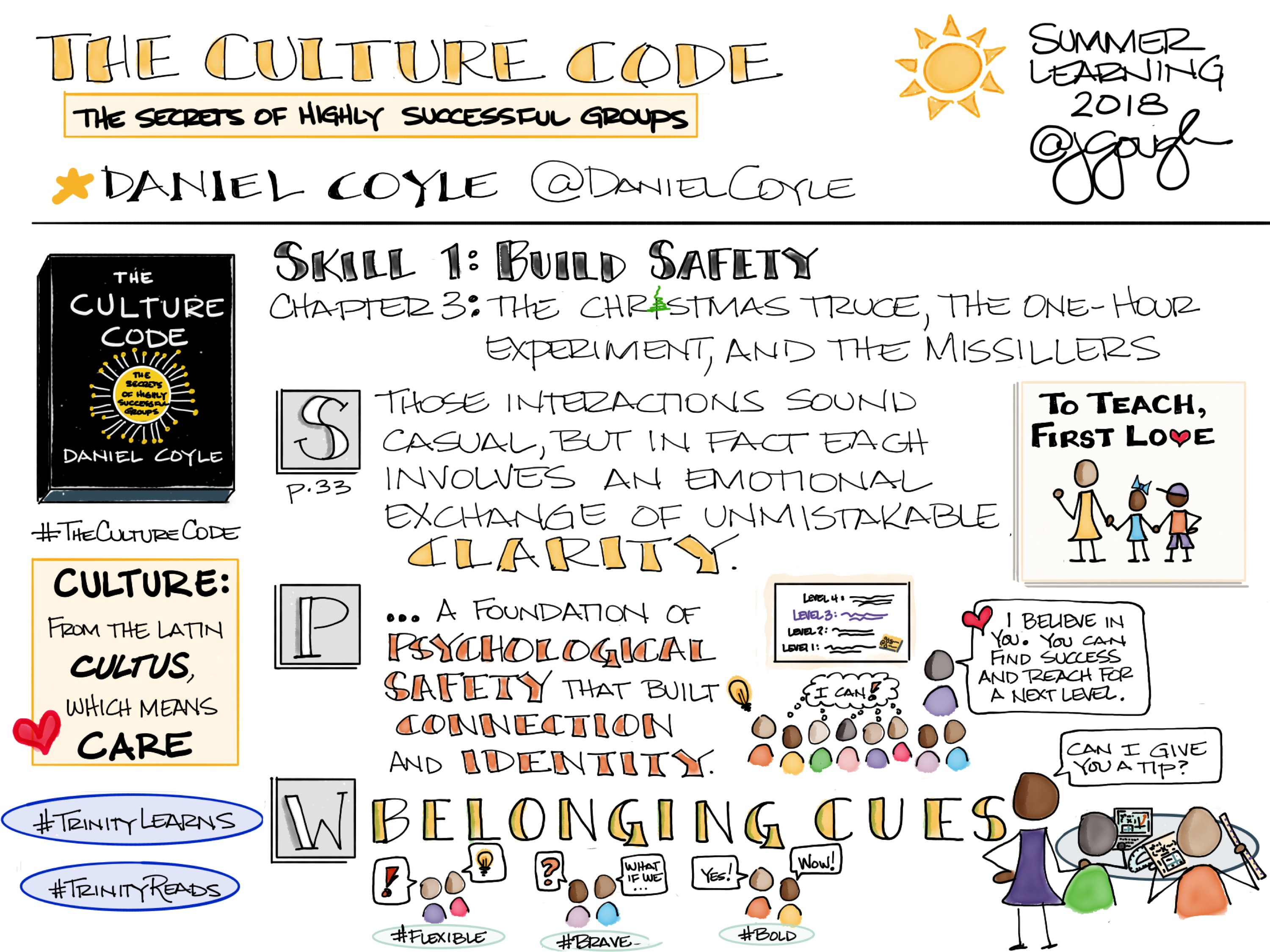#TheCultureCode by @DanielCoyle Skill 1: Build Safety Chapter 3: The Christmas Truce, the One-Hour Experiment, and the Missillers #TrinityLearns belonging cues contribute to identity building #TrinityReads