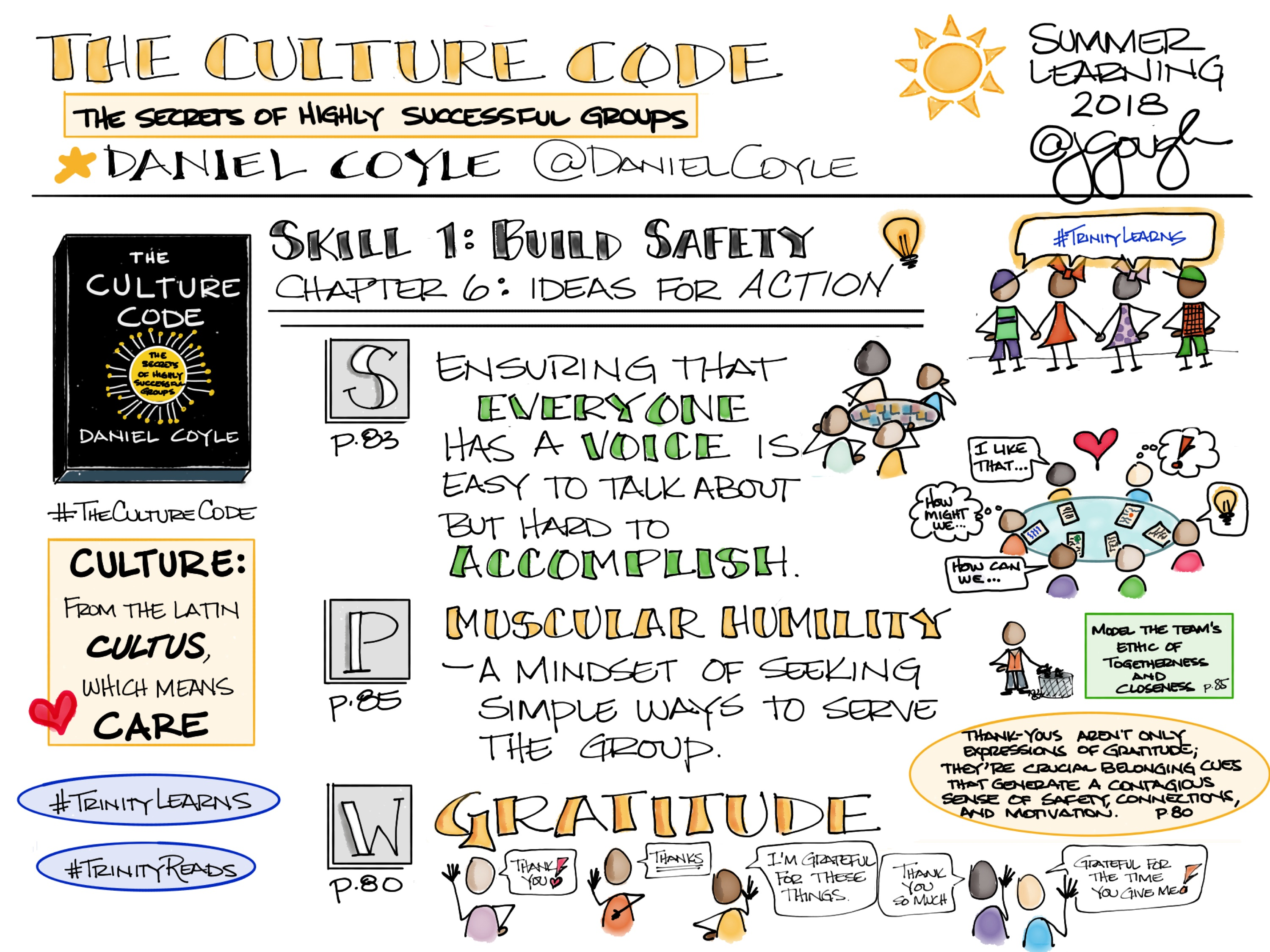 #TheCultureCode by @DanielCoyle Skill 1 Build Safety Chapter 6: Ideas for Action #TrinityLearns Muscular humility (leadership), gratitude, togetherness and closeness #TrinityReads