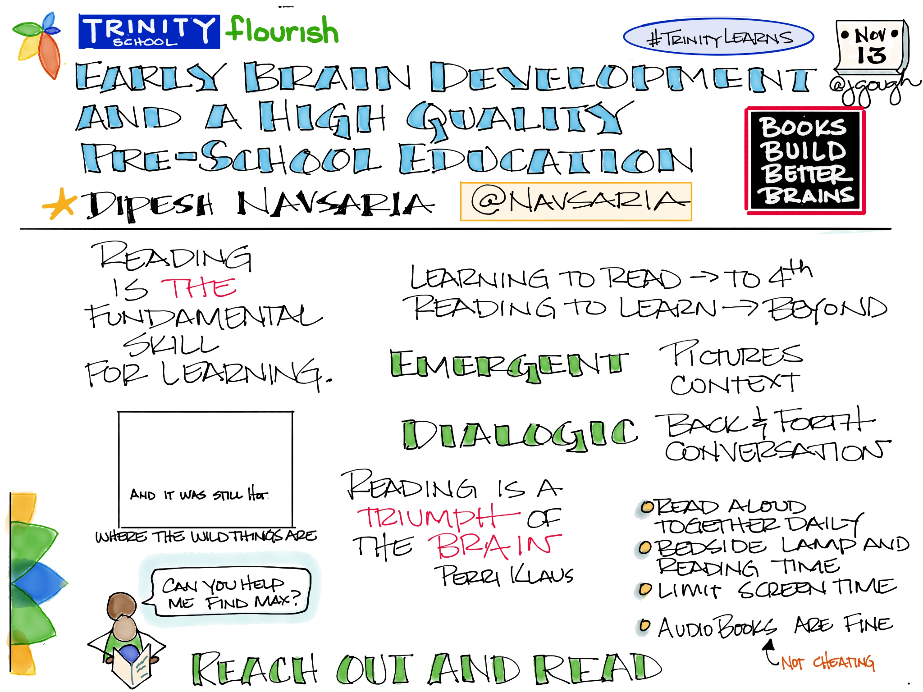 Sharing p.2 of #Sketchnotes from @Navsaria Reading is THE fundamental skill for learning. #TrinityLearns