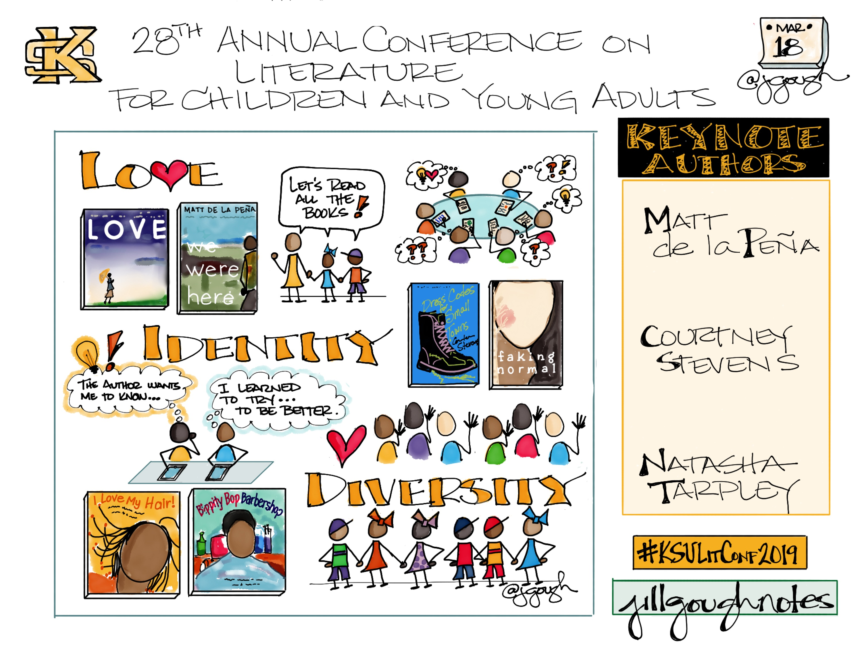 Sharing my #Sketchnotes for the opening of @KennesawState 28th Annual Conference on Literature for Children and Young Adults with keynotes from @MattdelaPena @Quartland @NatashaTarpley #KSULitConf2019