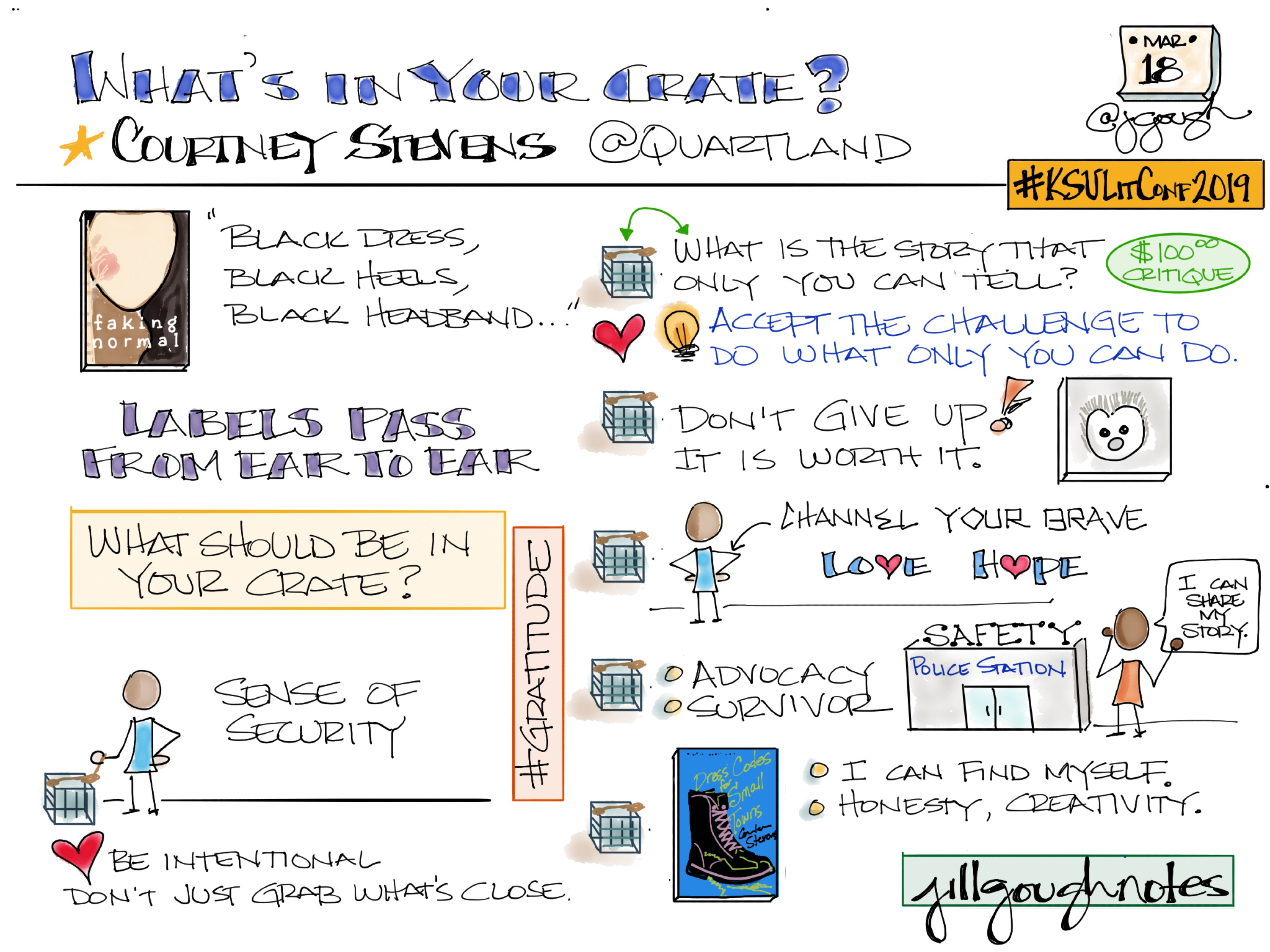 Sharing my #Sketchnotes from @Quartland 's #KSULitConf2019 keynote What's in Your Crate?